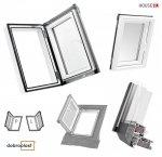 Ausstiegsfenster Dobroplast PVC Skylight Loft 45x73 Dachausstieg aus Kunststoff,  Profile in Weiß PVC Standard  Uw = 1,7 W/m2K  Dachluken - Dachausstieg - Dachluke - Dachfenster, 7043 8019 RAL, Öffnung: nach Rechts / Links