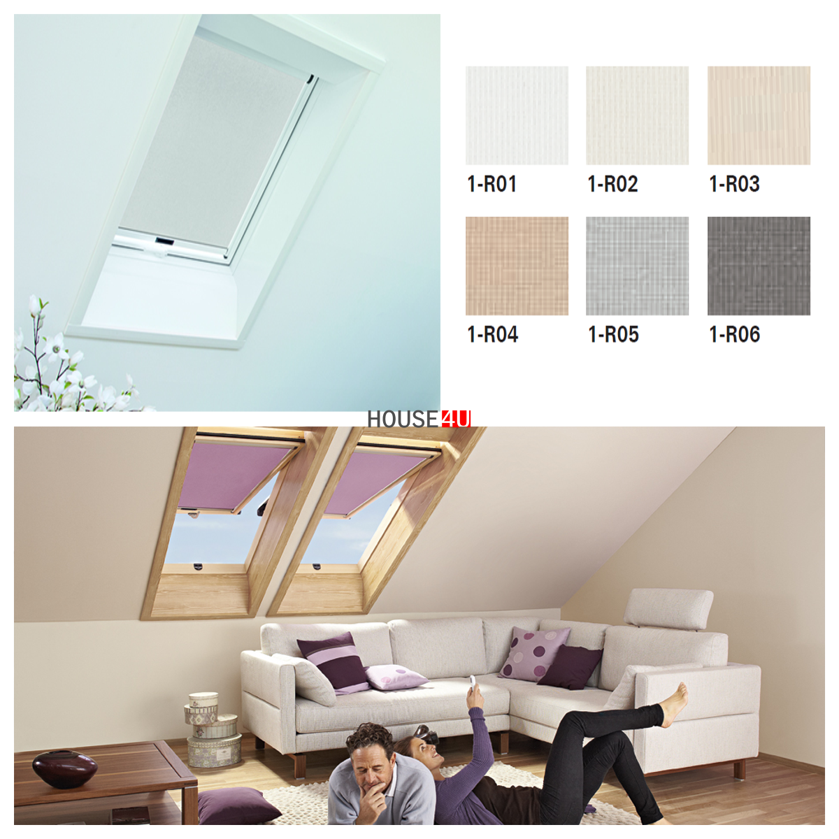 rollo roto exclusiv f r designo dachfenster r64 r69p r84. Black Bedroom Furniture Sets. Home Design Ideas