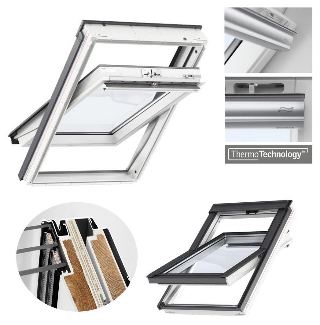 velux dachfenster glu 0061 3-fach-verglasung uw= 1,1 schwingfenster