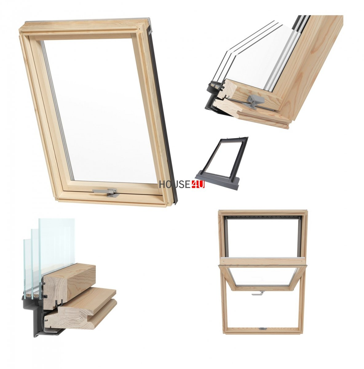 Holzdachfenster Fenster fürs Dach Holz VKR Velux Konzern TOP-Q Eindeckrahmen