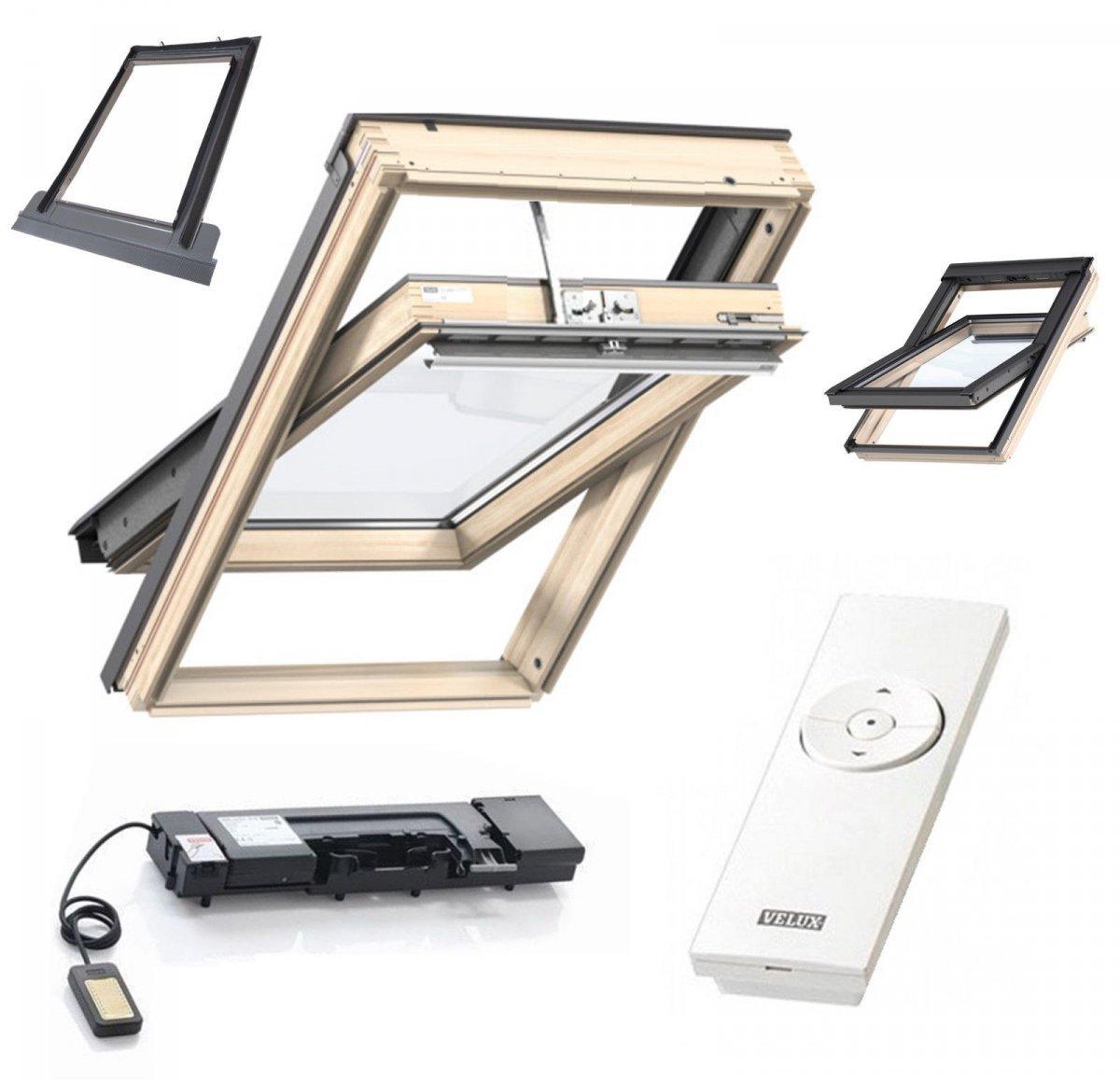 automatishe dachfenster set velux gzl 1051 2 fach verglasung holz fenster eindeckrahmen edz 0000. Black Bedroom Furniture Sets. Home Design Ideas