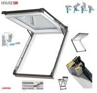 Dachfenster Kipp-Schiebefenster Okpol IGKV IGK E2 PVC Profile in Weiß - Öffnungswinkel bis 62° - Uw= 1,2 W/m²K / Ausstiegsfenster