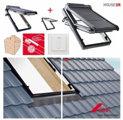 Dachfenster-Set Roto R88C H200 + ZRO SF Holz Schwingfenster mit Solar Außenrollladen gesteuert von der Fernbedienung