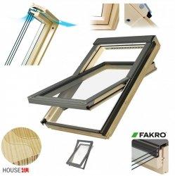 Dachfenster Fakro FTP-V U5 Schwingfenster aus Holz 3-fach-Verglasung, Energiesparende Holzfenster Uw=0,98, , Dauerlüftung V40P, topSafe-System, Energiespar-Schwingfenster, Scheiben ESG außen, TGI, wartungsfrei