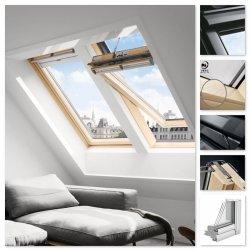 VELUX INTEGRA Dachfenster Solarfenster Velux GGL 306630 INTEGRA ENERGIE PLUS Solar Schwingfesnter aus Holz klar lackiert Holz/Kiefer 3-fach -Verglasung Energy-Star, Aluminium grau, mit Fenstermotor + Regensensor + Fernbedienung