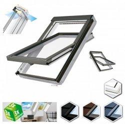 Dachfenster Fakro FTW-V U5 Schwingfenster aus weiß lackiertem Holz PU-Kunststoff-Lack (x2), Dauerlüftung V40P, topSafe-System Uw: 0,97 Polyurethan-Kunststofflack  erhöhter Feuchteresistenz