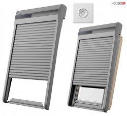RoofLITE+ SSR Außenrollladen Aluminium INTEGRA® Solar- Rollladen Dunkelgrau inkl. Fernbedienung / Funk-Wandschalter, Kompatibilität mit dem io-homecontrol® System