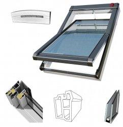 DACHFENSTER OKPOL Elektrofenster IGC1V E2 Uw= 1,2 Schwingfenster Kunstoffenster PVC Profile in Weiß / Automatische Fenstern mit elektrischem Stellantrieb - Fernbedienung