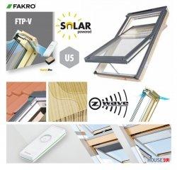 Solar-Dachfenster Fakro FTP-V U5 Solar Schwingfesnter aus Holz klar lackiert Holz/Kiefer 3-fach -Verglasung Aluminium grau, mit Fenstermotor