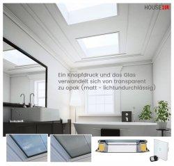 Flachdach-Fenster Festverglaste OKPOL PGX A4 mit elektrischer Gefrorenes Glas - Intelligente/SOMFY® Fernbedienung, die von der Fernbedienung AP5 gesteuert wird, Fenster mit schaltbarem Glas PGX A4 wechselbare glasstruktur