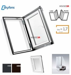 Ausstiegsfenster Dobroplast PVC Skylight Loft 45x73 Dachausstieg aus Kunststoff,  Profile in Weiß PVC Uw = 1,7 W/m2K Premium Dachluken - Dachausstieg - Dachluke - Dachfenster, 7043 8019 RAL, Öffnung: nach Rechts / Links