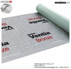 Dampfsperbahn MDM® Ventia Bronze Dreischichtig mit einem Gewicht von ca. 130 g / m² und einer Dicke von 600 µm.