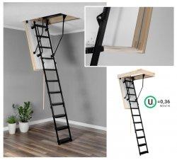 Bodentreppe OMAN  SOLID POLAR Dachbodentreppe mit Metallleiter  U=0,36 max Belastung bis 210 kg weiße Öffnungsklappe Raumhöhe 280