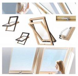 Dachfenster Schwingfenster KEYLITE BW KTG 3-fach-Verglasung Uw=1,0 Dachfenster aus Holz: klar lackiert / Boden-Griff