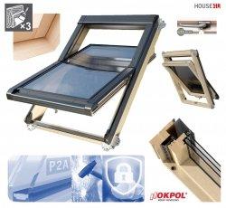 Dachfenster OKPOL ISOV I25 Energiesparende Uw=1,06 Schwingfenster aus Holz klar lackiert mit P2A-Laminat