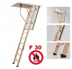 Bodentreppe DOLLE F 30 Uw=0,96  Feuerhemmend und sicher im Brandfall - feuerhemmende Öffnungsklappe Feuerschutztreppe Holzbodentreppe Dachbodentreppe