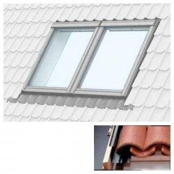 Doppelte Eindeckrahmen Velux EBW um Einbau von Fenstern mit einem Abstand von 18 mm  Für Welldachmaterialien mit einer Profilhöhe von bis zu 120 mm für Beton- oder Keramikziegel, Metalldachziegel, Stroh (Schilf oder Stroh)