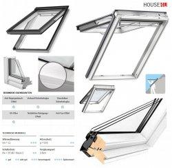 VELUX Klapp-Schwingfenster GPL 2068 3-fach Uw =1,1 ENERGIE Holz/Kiefer weiß lackiert, Rw=35 dB, Tau-Effekt, Anti-Regengeräusch-Effekt, Verbund-Sicherheitsglas