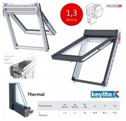 Dachfenster Keylite Polar PVC Klapp-Schwingfenster PTH PFE Thermal Uw=1,3 weiß Kunststoff 2-Fach Verglasung Fluchtwegsfenster 0 – 45 ̊ offen, Kunststoff mit Wärmedämmblock, Bad-Dachfenster