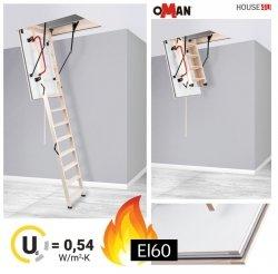 Bodentreppe Oman EI60 Feuerschutz Bodentreppe aus Holz Uw=0,6 W/m²K, Feuerhemmend und sicher im Brandfall - feuerhemmende Öffnungsklappe Feuerschutztreppe, für die Montage in Räumen, die besonders anfällig für Brände sind