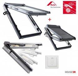 Dachfenster-Set Roto R88C K200 + ZRO SF Kunststoff Schwingfenster mit Solar Außenrollladen gesteuert von der Fernbedienung