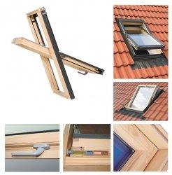 Dachfenster 94x118 Holz-Fenster Oman SELECT EN Uv =1,3 W/m² Oman Schwingfenster klar lackiert incl. Eindeckrahmen