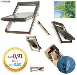 Dachfenster Okpol ISO I3 Schwingfenster Energiesparende ENERGIE 3-fach KryptonVerglasung Uw=0,91 Ug=0,5 Holz klar lackiert, Anti-Kondensat-Glas, Anti-Tau-Effekt