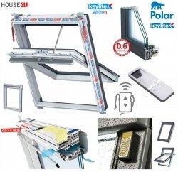 Elektro-Dachfenster Keylite PVC PCP KTG SEK Standard Elektrofenster mit Wandmontierter Schalter 3-fach-Verglasung Uw= 1,0 Schwingfenster aus Kunststoff Weiß PVC mit Wärmedämmblock
