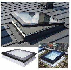 Flachdach-Fenster Fakro DMF DU6 Secure manuelle Steuerung U=0,70 W/m²K * Flachglassegment, Secure-Flachdach-Fenster, Fenster mit einem erhöhten konstruktiven Sicherheitsstand, 0 – 15 Grad