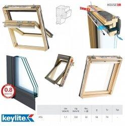 Dachfenster Keylite TCP FT+ ATG Uw=1,1 Schwingfenster Argon, 3-Fach Verglasung, Kiefernholz Klar lackiert
