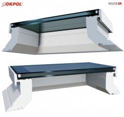 Flachdach-Fenster OKPOL EGX ECO A1 PVC Festverglastes Uw=1,2 W/m²K/ Flachverglasung, 2-15°, ohne kuppel, internes Verbundglas (P2A-Klasse)
