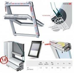 Dachfenster Keylite Polar PVC PCP INTEGRAL  Schwingfenster mit INTEGIERTES Rollo 2in1 Kunststoff mit Wärmedämmblock Weiß PVC 2-fach-Verglasung Uw= 1,3 Bad-Dachfenster