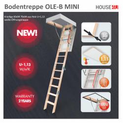OUTLET: Bodentreppe OLE-B MINI 70x94 4-teilige 60x94 70x94 aus Holz U=1,13 weiße Öffnungsklappe Holzbodentreppe Dachbodentreppe + Handlauf