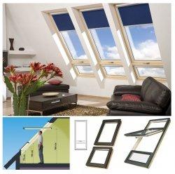 Dachfenster Fakro FYU-V Duet proSky Fenster Mit Höher Versetzter Schwingachse und Unterem Festelement mit dreifach Holzlackierung