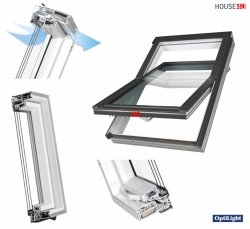 OPTILIGHT PVC Dachfenster TLP-V U4 3-fach-Verglasung Uw= 1,1 Schwingfenster aus Kunststoff PVC Profile in Weiß / Boden Griff / ENERGIE with triple glazing, mit Dauerlüftung