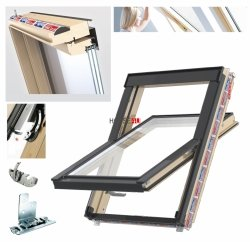 Dachfenster Schwingfenster KEYLITE Flick Fit FF CP 3-fach-Verglasung ATG Thermal Uw=1,1 Dachfenster aus Holz: klar lackiert Boden-Griff