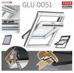 VELUX Dachfenster GLU 0051 Schwingfenster, Schwingfunktion bis zum Anschlag, Kunststoff -qualität mit Dauerlüftung, Lüftungsklappe und Luftfilter, ThermoTechnology™, Holzkern und nahtloser Kunststoff-Umhüllung aus Polyurethan,  alternativen für Thermo