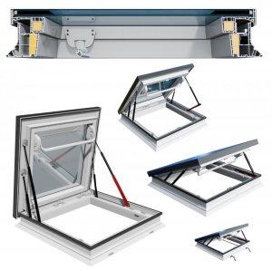 Flachdach-Ausstiegfe<br />nster OKPOL PGM A1 manuell betätigt ohne Kuppel für flache Dächer von 2° bis 15°, Uw= 1,3 W/m²K