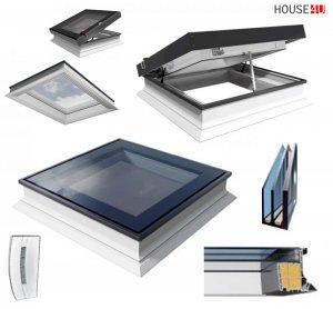 Elektrisches Flachdach-Fenster OKPOL PGC B1 Flachverglasung 3-fach, Uw=0,66 W/m²K, mit Regensensor elektrisch, Tageslicht für flache Dächer Elektrisch Gesteuert, FlachGlass, ohne kuppel, PVC-Rahmen mit mehreren Kammern, Verbundsicherheitsgl<br />as