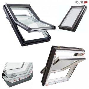 Dachfenster Roto Designo R4 Schwingfenster R49 3-fach-Verglasung Uw-Wert 1,1 ENERGIE Kunststoff PVC mit Wärmedämmblock, PVC Profile in Weiß, Aluminium