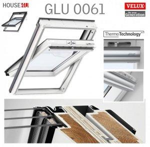 VELUX Dachfenster GLU 0061 3-fach-Verglasung Uw= 1,1 Schwingfenster Kunststoffqualität mit Dauerlüftung ThermoTechnology