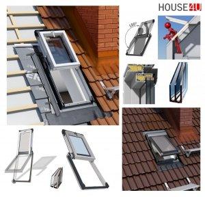 Dachluken, Ausstiegsfenster Okpol IGWX N22 PVC für Nutzräume 3-fach Verglasung Uw=0,86 55x78, 55x98 , Energiesparend Dachausstiegsfenster aus Kunststoff SOLID+ PVC - Dachausstieg - Dachluke - Dachfenster mit Schlüsselschloss und Mikrobelüftung