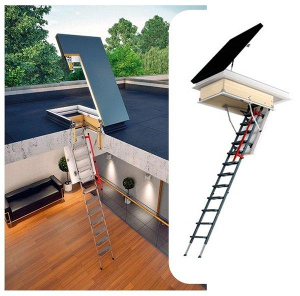Flachdach-Ausstiegsfenster FAKRO DRL 60x120cm mit Bodentreppen LML Lux  www.house-4u.eu