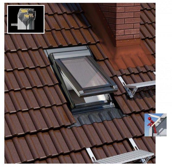 Dachluken Okpol IGWX+ E2 66x98 für Nutzräume Uw=1,2 Dachausstiegsfenster aus Kunststoff SOLID+ PVC - Ausstiegsfenster - Dachausstieg - Dachluke - Dachfenster