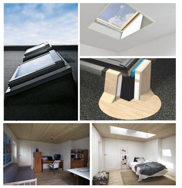Flachdachfenster VELUX ECX + VELUX Dachfenster Satz: manuell/electro/solar Bauen Sie Ihre beste Lösung für Flachdächer.