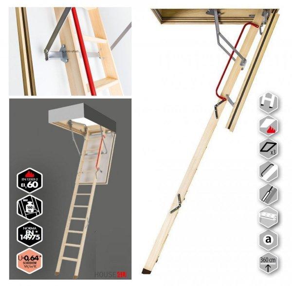 Bodentreppe FAKRO LWF 60 Uw=0,64 W/m²K feuerhemmendtreppe aus Holz 60-minütigen Schutz _ house-4u.de