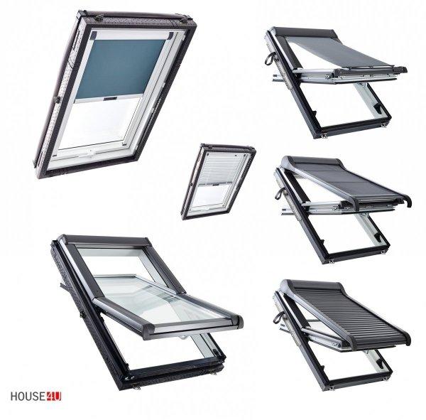Dachfenster Roto R4 Designo R45 K200 (WDF R45 K WD AL)  Uw=1,3  blueLine Schwingfenster aus Kunststoff mit Wärmedämmblock