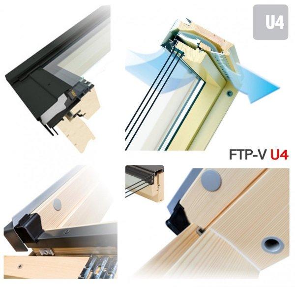 Dachfenster Fakro FTP-V U4 3-fach-Verglasung Schwingfenster Energiesparende Holz klar lackiert Uw=1,1 Ug=0,7 W/m²K
