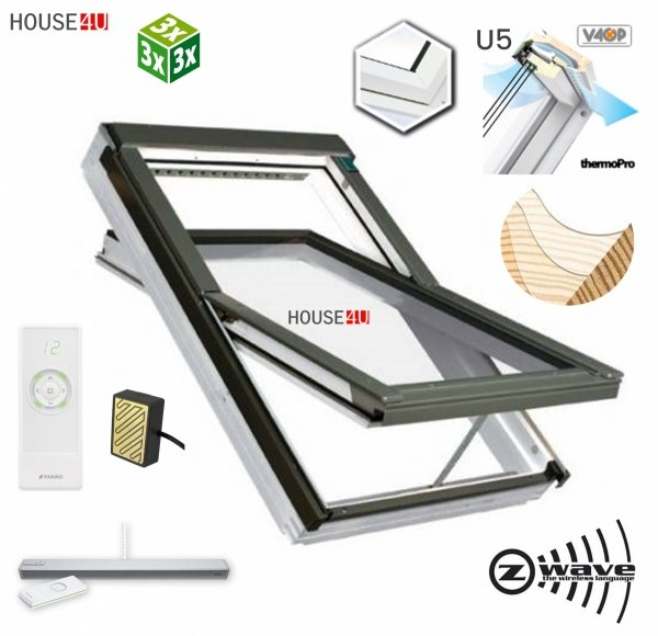 Dachfenster Fakro FTU-V U5 Schwingfenster aus weiß lackiertem Holz mit superenergiesparende Isolierverglasung PU-Kunststoff-Lack Dauerlüftung V40P topSafe-System Polyurethan-Kunststofflack erhöhter Feuchteresistenz Uw: 1,1