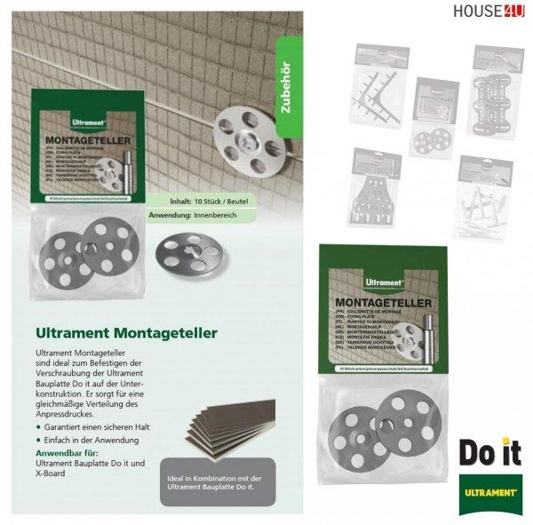 Montageteller Ultrament Do-it Zur schnellen Verbindung und Fixierung der Bauplatte - Rohrkästen, X-Board, Bauplatte Flexplatte Qboard Fliesenbauplatte
